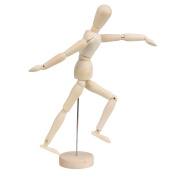 Wood 30cm Artist Drawing Manikin Articulated Mannequin w/ Base and Flexible Body
