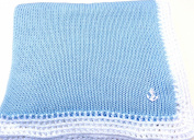 Knitted Crochet Finished Blue Cotton White Trim Baby Blanket with Applique'