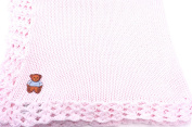 Knitted Crochet Finished Pink Cotton Baby Blanket with Teddy Bear Applique'