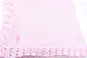 Knitted Crochet Finished Pink Cotton Baby Blanket with Chosen Monogram