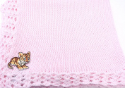 Knitted Crochet Finished Pink Cotton Baby Blanket with Tiger Cub Applique'.