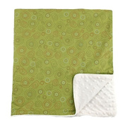 My Blankee Swirls Cotton Lime Green with Dot Velour Cream and Satin Pipping Border, Baby Blanket 80cm X 90cm