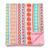 My Blankee Daisy Stripes Cotton Pink with Dot Velour Pink and Satin Pipping Border, Baby Blanket 80cm X 90cm