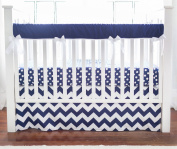 New Arrivals Crib Rail Cover, Zig Zag in Navy