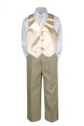 Leadertux 4pc Formal Baby Toddler Boys Champagne Vest Necktie Khaki Pants S-7