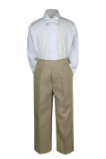 Leadertux 3pc Formal Baby Toddler Teens Boys White Bow Tie Khaki Pants Suits S-7 (L:
