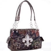 Mossy Oak Western Studded Camouflage Handbag Shoulder Bag with Rhinestone Fleur de Lis & Floral Trim