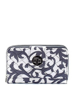 Damask Print Quilted Canvas Wallet Grey
