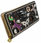 Metal Tiger Face and Rhinestone Embezzled Black Coloured Long Wallet