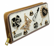 White and Lavender Coloured Bedazzled Charm Long Zipper Wallet