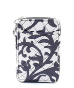 Damask Quilted Mini Wallet Wristlet Grey