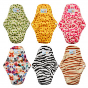 Love My (TM) Antibacterial Bamboo fibre Mama Cloth/ Menstrual Pads/ Reusable/ Panty Liners - 6pcs pack