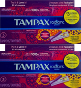Tampax Radiant Plastic Unscented 100% Leak Free Travel Pack , Pack of 2
