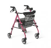 Medline Posh Rollator Walker - 43cm , Pink Zebra