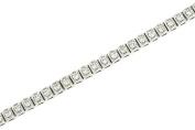 Box Link Diamond Tennis Bracelet with Milgrain Trim