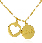 Love and Heart Cutout Double Disc Pendant Necklace .925 Sterling Silver Gold Tone Finish 16