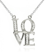 Iconic LOVE Pendant Necklace Pave CZ .925 Sterling Silver Adjustable 16