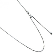 Adjustable 1.5mm Oval Link Rolo Style Rhodium Over 925 Sterling Silver Necklace. 24 Inches or Make It Shorter