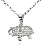 Elephant Pave CZ Small Pendant Necklace .925 Sterling Silver 16