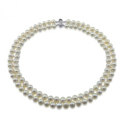 """Sterling Silver 2 Rows 8-9mm White Cultured Freshwater Pearl HighLuster Necklace 17""""-18"""""""