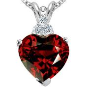 Tommaso Design 8mm Heart Shape Genuine Garnet Pendant