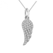 0.47 ct Angel Wing Diamond Necklace Pendant 14K Gold with 46cm Chain (G,VS) Signature Rare Quality