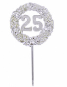 12 Pieces Silver 25th Anniversary Plastic Picks Decorations 6.4cm Diameter 30cm Long