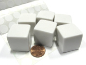 Set of 6 D6 25mm Blank Large Dice with Customizable Stickers - Solid White