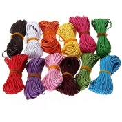 12 Colours 10M 1mm Waxed Cotton Cords Strings Ropes for DIY Necklace Craft Making