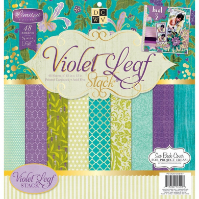 Diecuts With A View Paper Stack, 30cm by 30cm , Violet Leaf, 48-Pack