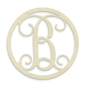 UNFINISHEDWOODCO Single Letter Circle Monogram-B, 48cm , Unfinished