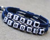 Stay Strong Bracelet with Heart Charm Navy Blue Encouragement Bracelet Wedding Gift,couple Bracelet, Anniversary Gift