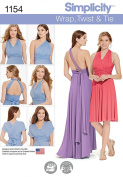 Simplicity Patterns US1154A Misses' Knit Wrap and Tie Dress, A