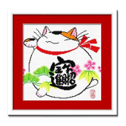 DOMEI Stamped Cross Stitch Kit, Lucky Cat Chinese, 38cm x 36cm