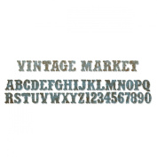 Sizzix Sizzlits Decorative Strip Alphabet Die - Vintage Market by Tim Holtz
