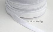 1cm White Fold Over SATIN Elastic! 5 yards!