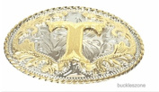"""Initial Letter """"Z"""" Western Style Cowboy Rodeo Gold Oval Belt Buckles"""