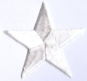 1.3cm White Star PACK of 10 PIECES Iron on Embroidered Applique Patch