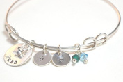 Sterling Silver Adjustable Charm Bangle - Personalised Stamped Letter Name Initial - Nana Gift's