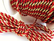Roll of 25 yards Gold-Red 2mm Braided Twist Twine Cord Trim (T116-Gold/Red)US Seller Ship Fast