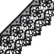 Black Vintage Cluny Lace Trim, 5.4cm by 1 Yard, STEP-3819