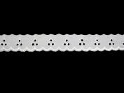 Altotux 2.5cm White Cotton Embroidery Eyelet Lace Trim Wholesale Lot By 15 Yards