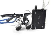 icarekit (TM) Dental Surgical Medical Binocular Loupes + LED Head Light Lamp 3.5X 320mm Black + Aluminium Box
