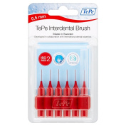 Tepe 0.5 mm Interdent Red Brushes - Pack of 6