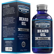 Premium Beard Oil and Conditioner - HUGE 120ml Bottle - FOUR TIMES LARGER - 100% Natural - Softens Your Beard and Stops Itching - Bold Forest Scent - With Nourishing Jojoba Oil, Almond Oil, Grapeseed Oil, Plus Three Essential Oils!