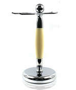Spitalfields Shaving Company *Premium Grade* Brush and Razor Stand - Millwall 24 - Chrome with Faux Ivory