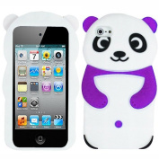 Purple White Panda Bear Silicon Soft Rubber Skin Case Cover For Apple iPod Touch iTouch 4 4G