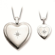 Sterling Silver Satin & Polished Finish Round Solitaire Diamond Shining Star Design Heart Locket Pendant Necklace Set