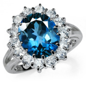 6.01ct. Natural London Blue & White Topaz 925 Sterling Silver Cluster Cocktail Ring