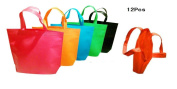 King's 12pcs 45cm Non-woven Reusable Kids Carrying Shopping Grocery Tote Bag for Party Favour in Retail Packaging - Assorted Colours